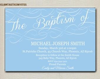 Baptism Invitation Boy, Baptism Invitation Printable, Boy Baptism Invitation, Printable Baptism Invitation, Party Invite Boy, White, Blue