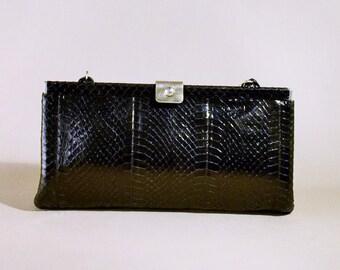 Original 70ties Pistore Italy Black Leather Snakeskin Vintage Bag, Office Bag, Shoulderbag, Handbag