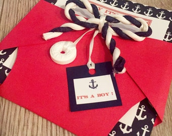 Nautical , Anchor Sailor Diaper Babyshower Invitation for Baby Boy