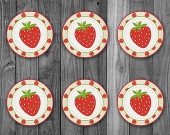 Strawberry Birthday Cupcake Topper Label - Strawberry Birthday Party  - Printable Strawberry Sticker - Strawberry First Birthday Party