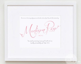 Baby Name and Birth details SCRIPT FRAMED print with Bible Verse or Quote