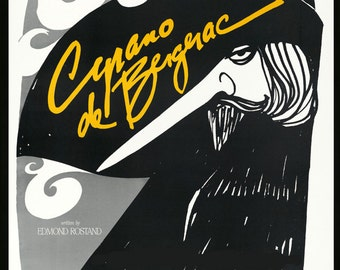 "Theater 16""X20"" Cyrano de Bergerac French Novelist Playwright Show Vintage Poster Repro Paper or Canvas FREE SHIPPING in USA"