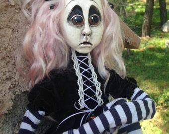 OOAK Polymer Clay  Creepy Sad Halloween Girl 65cm with Pumpkin  Gothic  ART Doll