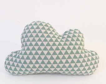 Mint Cloud Pillow | Cloud Cushion | Baby Cloud Pillow | Nursery Decor | Baby Pillow | Room Decor | Mint Triangle Pillow