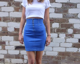 Vintage Super High Waisted Denim Skirt