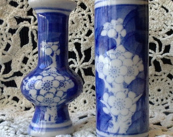 Two Vintage Blue and White Asian Porcelain Vase With Blossoms