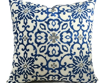 Farmhouse Pillow, HGTV Floral Pillow Cushion Cover Zippered Throw Pillow French Country Cottage Decor Blue Gray Beige Scroll Accent Pillow
