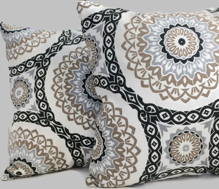 french country cottage black brown stone gray pillow cushion. Black Bedroom Furniture Sets. Home Design Ideas