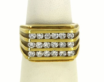 18k Channel Diamond Ring Set Yellow Gold 1.8 cts Ladies Band Ring