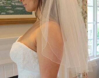 Natalie, Elbow Length Veil, 2 Tier Veil, Pencil Edge Veil, Bridal Veil, Custom-Made Veil, Made-to-Order Veil
