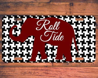 ROLL TIDE License Plate Houndstooth Elephant Alabama Custom Vanity Front Car Tag Monogram Customized Personalized Customize Fan Gift