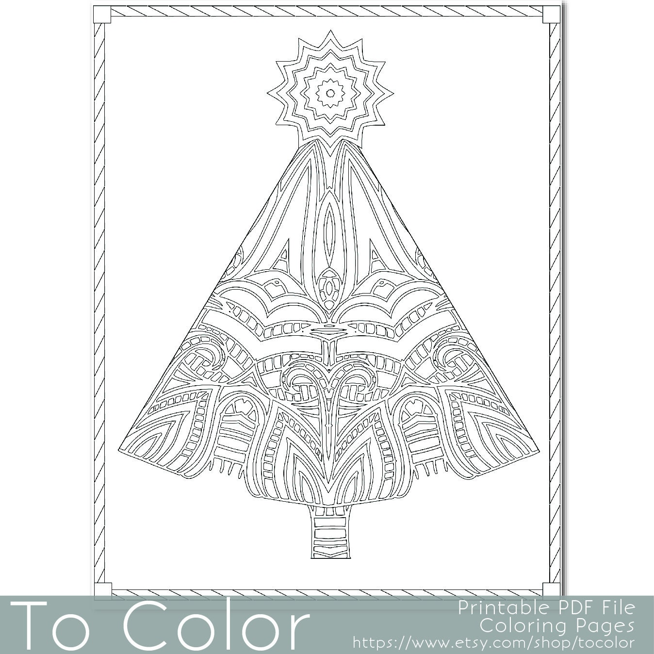Christmas Tree Coloring Page for Adults Seasons by ToColor