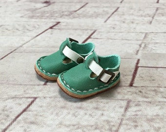 Real leather: miniature sabot shoes [Mint] (for blythe)