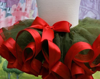 Ribbon trim tutu, Christmas tutu, Holiday tutu, Christmas ribbon trim tutu