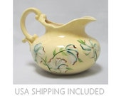 Pottery Pitcher 1940's Pale Yellow With Painted Dogwood Blossoms