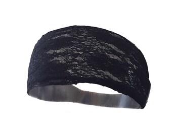 """Noir Lace Headband 4.5"""" - Stretch Headband, Everyday Headband, Yoga Wrap, Headband"""