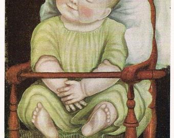 Folk Art Baby in a Red Chair - gift for nursery - framable print digitally enhanced 1800 folk art painting - gift for folk art lover