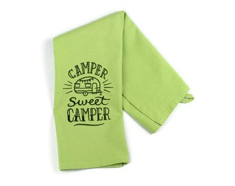 Camper Sweet Camper Solid Kitchen Dish Towel in Avocado