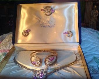 Vintage Oleg  Cassini pink Jewelry set
