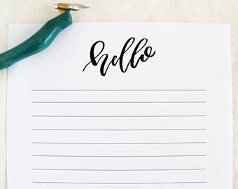 Hello Stationery - Office Stationery - Calligraphy - Handwritten - Printable - Instant Download - Just a Note - Desk Stationary - To Do List