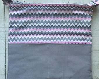 Planner Carryall Bag (Pink/grey/chevron)