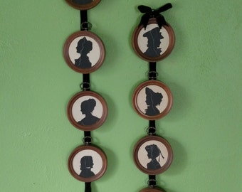 Vintage Collection of Silhouette Plaques 8 Silhouettes on Wood/Velvet Ribbon
