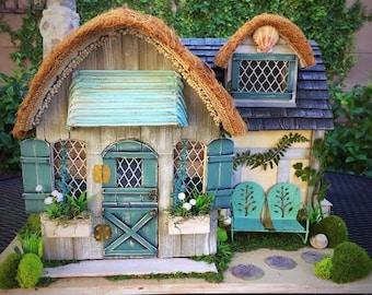 Enchanted Beach Cottage, Custom Dollhouse, Fairy House, ooak Display