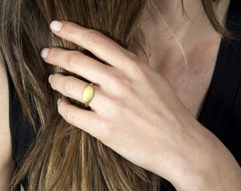 Signet Pinky Ring Solid 18K Gold Chevalier Ring Contemporary Greek Jewelry