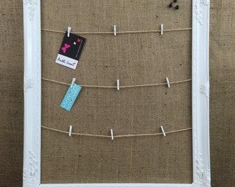 BULLETIN BOARD // WHITE FraMed PEg Board // Framed Pin Board // Hessian Notice Board // Burlap Vision Board // Memo Board // Pegboard