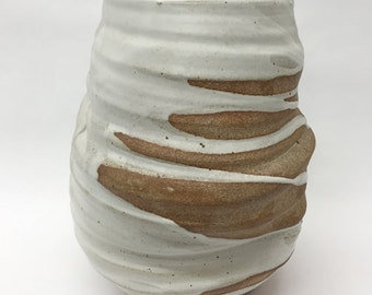 large ceramic vase // wheelthrown // matte white glaze // raw stoneware