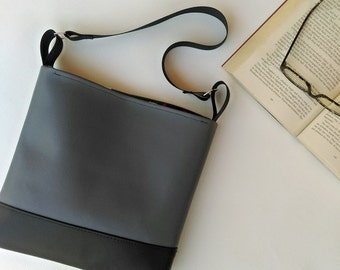 SALE Grey and black hobo slouch shoulder vegan bag handbag