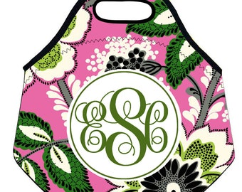 Monogrammed Floral Lunch Box-Vera Bradley Pattern Neoprene Lunchbox-Monogram Lunch Tote Lunch Bag-Initial Lunch Bag Lunch Tote