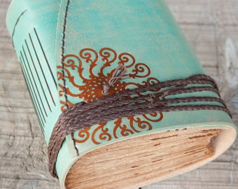 Turquoise Leather Journal, Handbound Journal, Leather Diary, Notebook