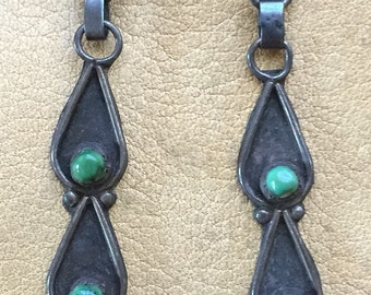 Old Navajo Dangles with Cerillos Turquoise.