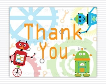 Robots & Gears Thank You Card - 5x4 PDF and JPEG Printable Thank You Card, Thank You Note, Robots Birthday Thank You, Robots Thank you