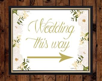 Wedding this way sign. Digital print. Wedding sign. Peony