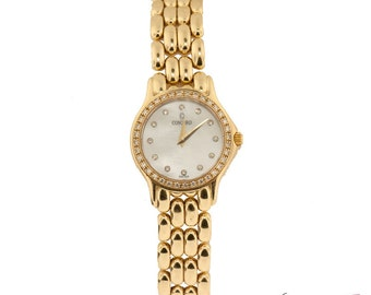 Concord 14k Yellow Gold Diamond Marker and Bezel Ladies Watch