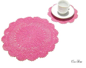 Crochet doily and coaster, Hot Pink doily and coasters, Set of doily and coasters, Set centrino e sottobicchiere (cod. 71)