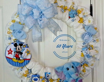 Diaper Wreath, Baby Diaper Wreath, Baby Shower Gift, Baby Gift, Diaper Gift, Newborn Boy Gift, Baby Door Decor, Baby Boy Diaper Gift