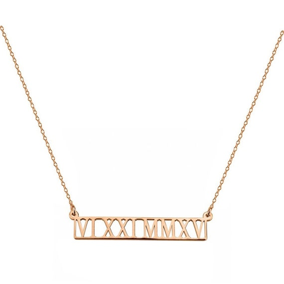 18th Birthday Cz T Bar Sterling Silver Heart Bracelet Can: Roman Numerals Necklace 1.5 Inch Name Bar Pendant In 18k Rose