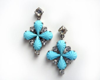 cross shaped pierced earrings with opaque textured vintage glass stones by De Luxe Accessories