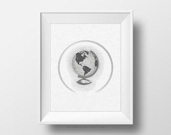 SALE -  Grey World Globe, Light Grey Texture, Earth Illustration, Nature Poster, Vintage Looking Poster, Black White, Modernism