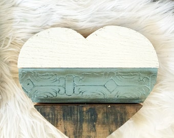 "8"" Handmade Reclaimed Wood Heart, White and Providence Blue"