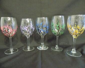 Hand Painted Wine Glasses (Rainbow set)