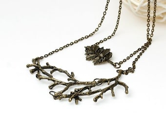 Double Layer Autumn Leaf and Branch Necklace Pendant -