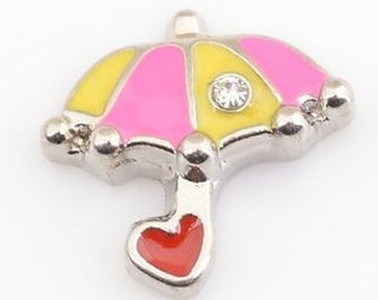1 Pink and Yellow Umbrella with Heart Floating Locket Charm Living Memory Lockets - 65m