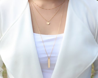 Layered and Long Set of 3 Layered Necklace.Gold Necklace 14k Gold-filled.Sterling Silver. Multistrand Necklace. Dainty Layering Necklace.