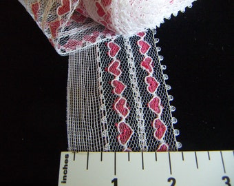 "Soft Pink Lace Trim 3 or 5 yards Hearts  Picot 2"" Wide Pink Lace Red Hearts Fabric DIY Garment Sewing Accessories CLEARANCE SALE"