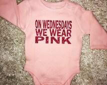 On Wednesdays we wear PINK 100% cotton bodysuit, funny light pink baby girl onesie with hot pink glitter - Mean Girls movie