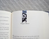 Black flower magnetic banner bookmark, planner bookmark, book clip, page marker, paper clip, washi bookmark, small bookmark